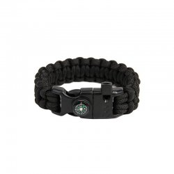 "Paracord-armband ""Cobra"" Survival, Svart"