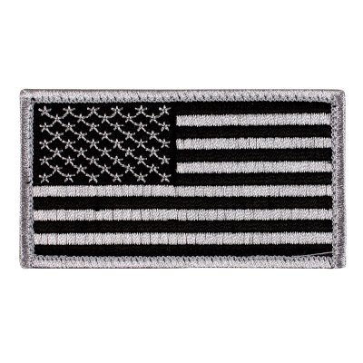 American Flag Patch, Silver