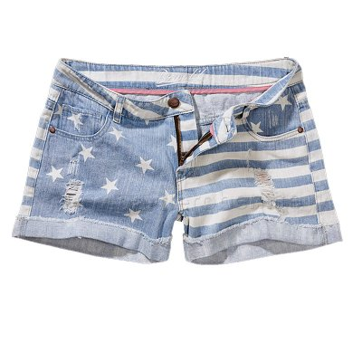 Brandit denim hotpants starts & stripes ljusblå