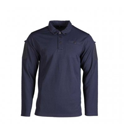 Mil-Tec Tactical Long Sleeve Polo Shirt Quick Dry dark blue